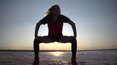 Sport sexy girl silhouette on nature sunset - stock footage