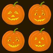 pumpkin jack o lantern, set - stock illustration