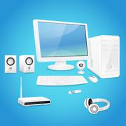 Computer and accessories - stock illustration