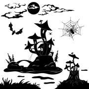 Halloween cartoon landscape Stock Illustration