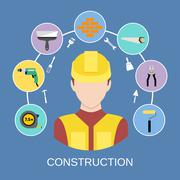 Engineer builder icons set - stock illustration