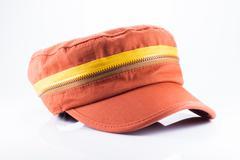 orange cap isolated on white background - stock photo