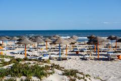 tunisian beach in morning without people - stock photo