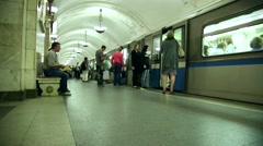 Trains And Passengers Traffic At Subway Station Stock Footage