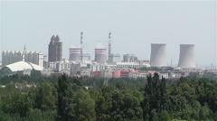 Jiayuguan Industrial Area Coal Plant Stacks China 1 - stock footage