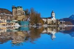 village st wolfgang on the lake wolfgangsee - austria - stock photo
