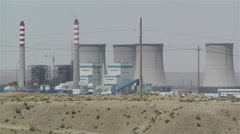 Jiayuguan Industrial Area Coal Plant Stacks China 3 - stock footage