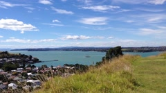 View from mount victoria hill in Auckland, New Zealand Stock Footage