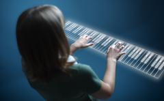 Girl playing on virtual piano keyboard Stock Illustration