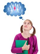 teen schoolgirl thinking about social network - stock illustration