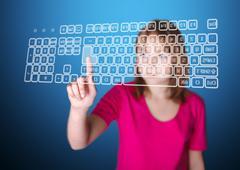 Stock Illustration of girl pressing enter on virtual keyboard