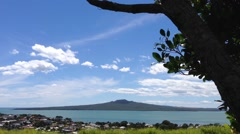 Rangitoto island view from mount victoria hill in Auckland, New Zealand Stock Footage