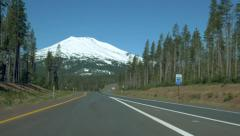 Cascades Lakes Scenic Byway driving towards Mt. Bachelor Stock Footage