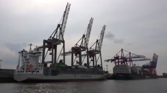 4k Big container ships and dockside cranes in Hamburg harbour Stock Footage