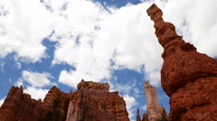 4K Time Lapse of Cloudscape over Hoodoos in Bryce Canyon -Zoom In- Stock Footage