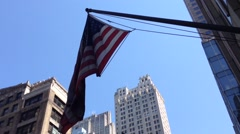 American flag in Manhattan, New York City, USA - stock footage