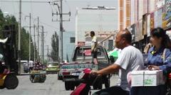 Jiayuguan Street Gansu Province China 5 Stock Footage