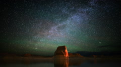 Astrophotography Time Lapse of Milky Way & Lone Rock in Lake Powell -Tilt Down- Stock Footage