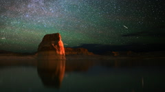 Astrophotography Time Lapse of Milky Way & Lone Rock in Lake Powell -Pan Left- - stock footage