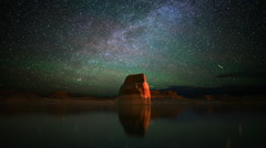 Astrophotography Time Lapse of Milky Way & Lone Rock in Lake Powell -Zoom In- - stock footage
