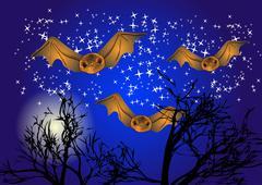 Bats in night sky Piirros