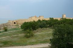 Fortified wall of middle fortress in ancient turkish stronghold akkerman Stock Photos