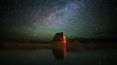 4K Astrophotography Time Lapse of Milky Way & Lone Rock in Lake Powell -Tilt Up- Stock Footage