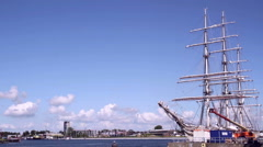 Big yacht in the port of the small Dutch town Vlissingen. Stock Footage