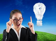 Composite image of young businesswoman getting an idea - stock illustration