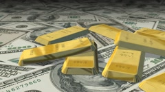 Dolly shot across $ 100 bills1 ounces gold bars Stock Footage