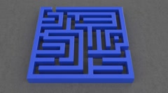 3d animation of red arrow goes through the maze destroying it Stock Footage