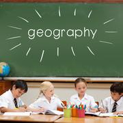 Geography against cute pupils sitting at desk - stock illustration
