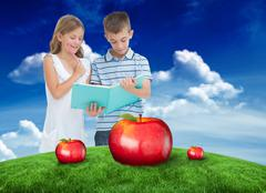 Composite image of concentrated brother and sister learning their lesson - stock illustration