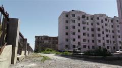 Jiayuguan Street Gansu Province China 32 block buildings Stock Footage