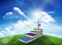 Composite image of attractive student holding books and her bag while standing - stock illustration