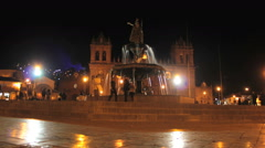 Cuzco - night time lapse - Plaza de Armas, Cusco, Peru Stock Footage