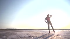 Sport sexy girl silhouette walking on nature sunset Stock Footage