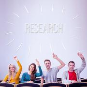 Stock Illustration of Research against college students raising hands in the classroom