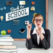Composite image of thinking redhead teacher Stock Illustration