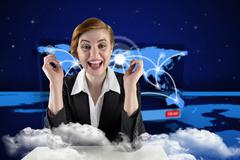 Composite image of excited redhead businesswoman sitting at desk Stock Illustration