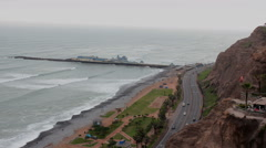 Skyline at ocean - Miraflores, Lima, Peru - Time lapse Stock Footage