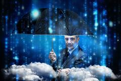 Composite image of mature businessman holding an umbrella Stock Illustration