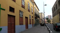 Spain The Canary Islands Tenerife 042 typical alley with yellow facades Stock Footage