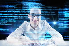 Composite image of businesswoman typing on a keyboard Stock Illustration