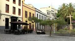 Spain The Canary Islands Tenerife 045 inner courtyard café in Santa Cruz Stock Footage