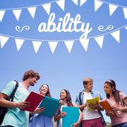 Stock Illustration of Ability against students standing and chatting together