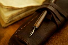 quill pen near a vintage book - stock photo