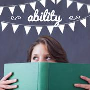 Ability against student holding book - stock illustration