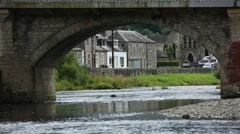 Scotland Stream Langholm town, highland springs, UK Stock Footage