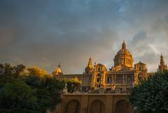 Museu nacional d'art de catalunya at sunset. barcelona, spain Kuvituskuvat